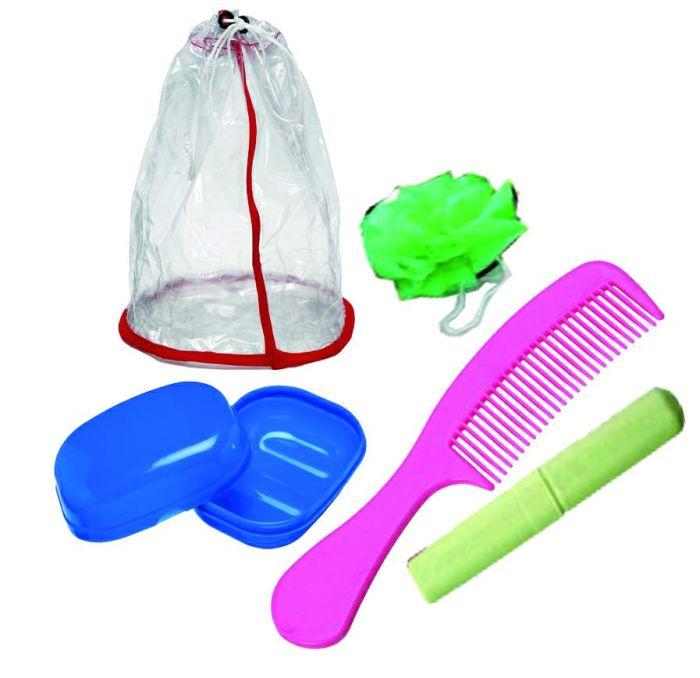 Kit Higiene Completo Mochila + Saboneteira + Porta Escova + Pente + Esponja Banho Fofita