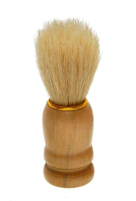 Pincel de Barba Pêlo Natural e Cabo de Madeira Luxo