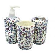Kit Estampado Floral Lilás Para Banheiro Com 03 Peças - Santa Clara