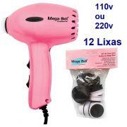 Pedicuro Compact Elétrico Profissional Para Lixar Os Pés + 12 Lixas Descartáveis Rosa Pink (Escolha a Voltagem)