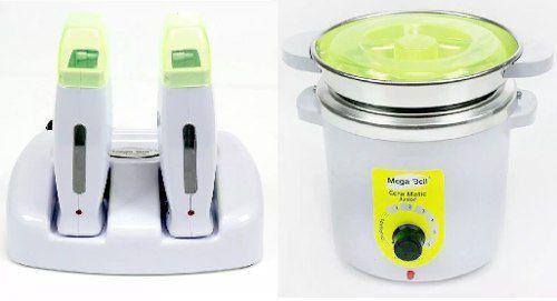 Termocera Panela Depilação 400g c/ Refil + Base Dupla c/ 2 Rollon Branca c/ Verde Limão Mega Bell