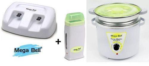 Termocera Panela Depilação 900g c/ Refil + Base Dupla c/ 1 Rollon Branco c/ Verde Limão Mega Bell