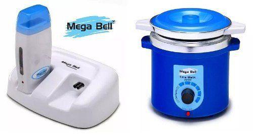 Termocera Panela Depilação Toda Azul 400g c/ Refil + Base Dupla c/ 1 Rollon Branco c/ Azul Mega Bell