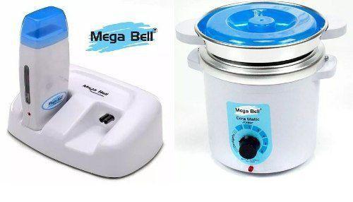 Termocera Panela Depilação 400g c/ Refil + Base Dupla c/ 1 Rollon Branco c/ Azul Mega Bell