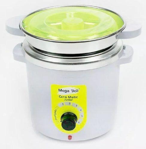 Termocera Panela Depilação 400g c/ Refil + Base Dupla c/ 1 Rollon Branco c/ Verde Limão Mega Bell