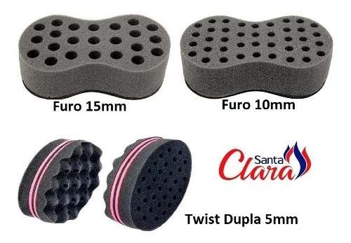 Esponja Twist (1 Pequena + 1 Média + 1 Dupla) Afro P/ Cabelo - Santa Clara