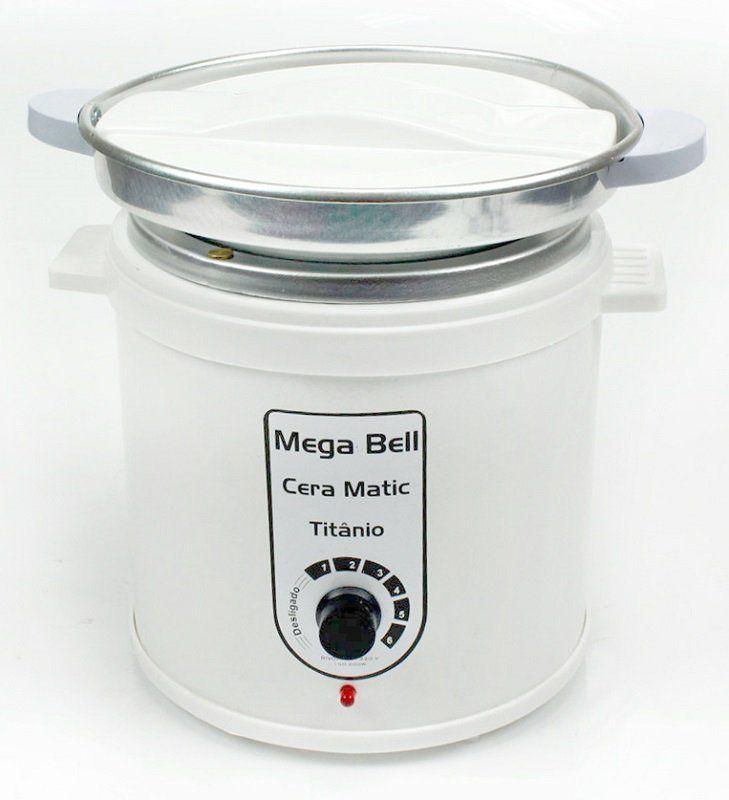 Aquecedor de Cera Titânio 1kg Bivolt - Mega Bell Com Refil Branca