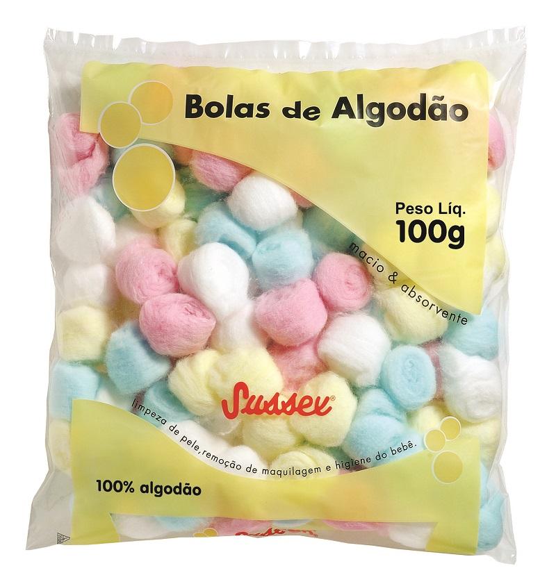 Bolas de Algodão Hidrófilo Coloridas Sussex - 100g