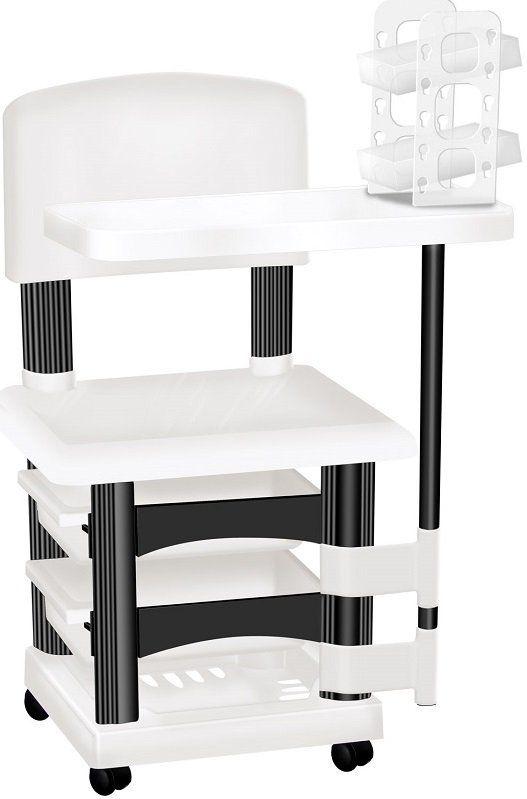 Cadeira Cirandinha Para Manicure Branca e Preto Com Display para Esmaltes