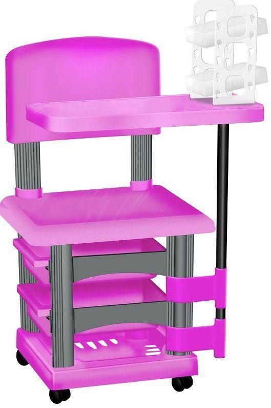 Cadeira Cirandinha Rosa e Prata Para Manicure Com Display para Esmaltes