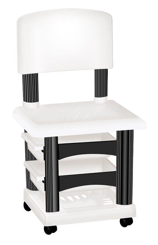Cadeira Cirandinha Simples Branca e Preta Para Manicure - Santa Clara
