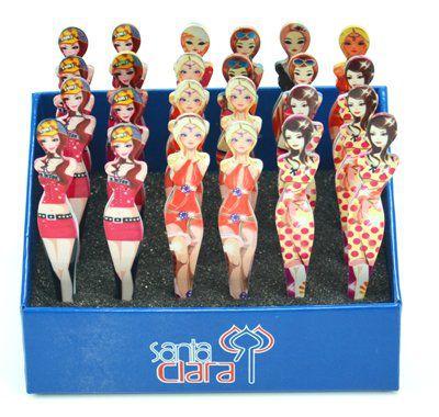 Caixa Expositora com 24 Pinças Formato Mulher