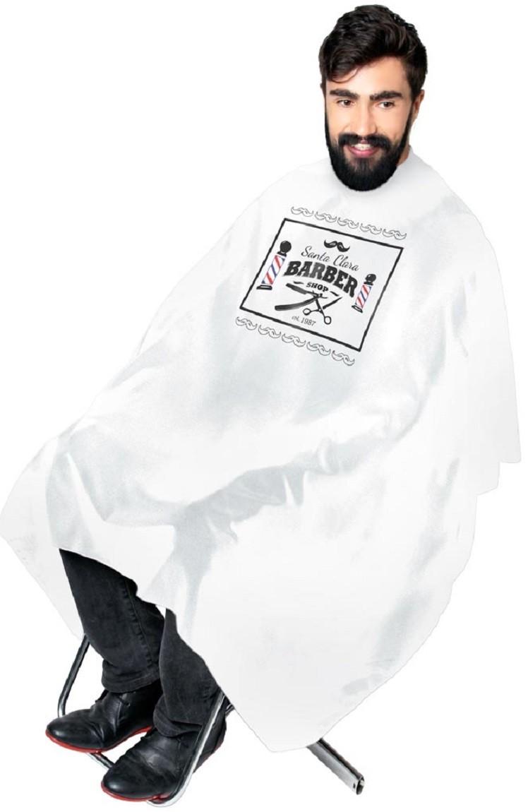 Capa Branca de Cetim Sem Manga Com Impressão Santa Clara Barber Shop