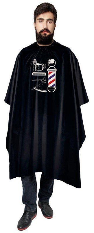 Capa Preta de Cetim Sem Manga Com Impressão para Barbeiro - Santa Clara