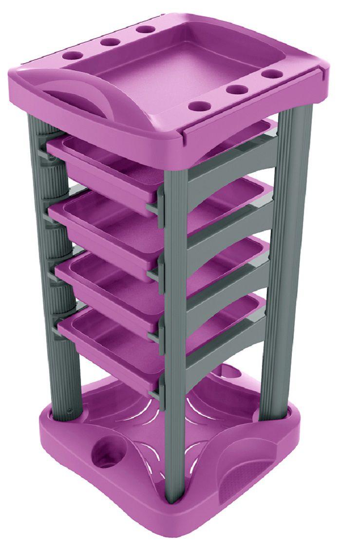 Carrinho Auxiliar Multiuso Luxo com 4 Gavetas Pink com Prata- Santa Clara