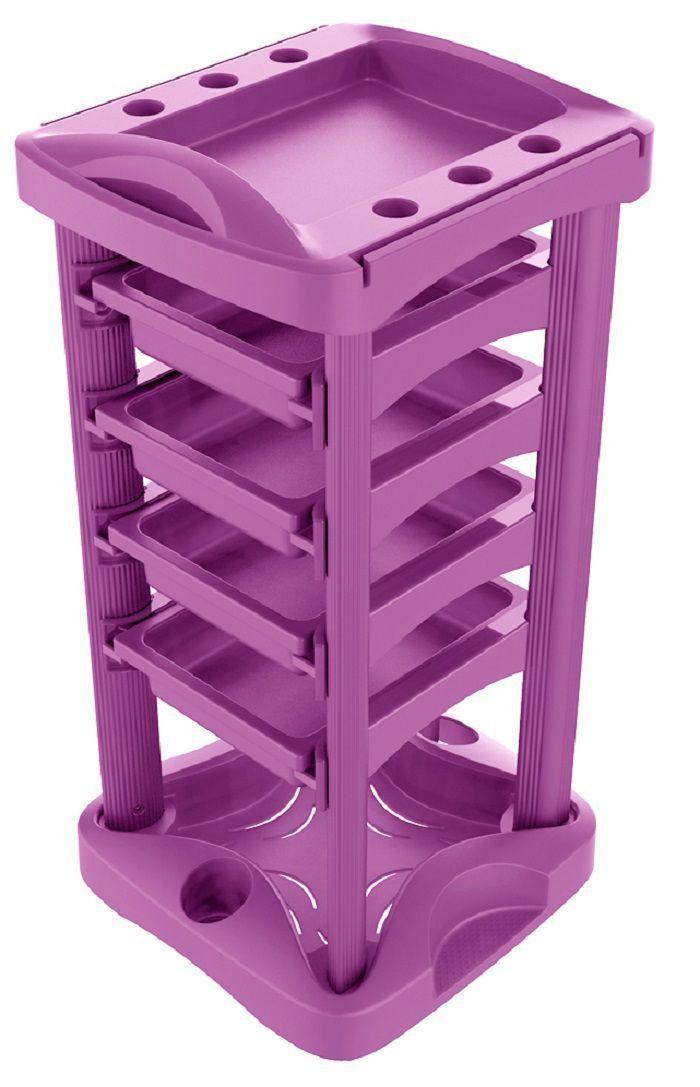 Carrinho Auxiliar Multiuso Luxo com 4 Gavetas Pink - Santa Clara
