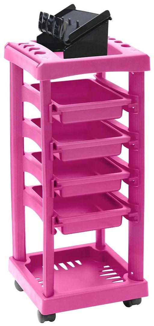 Carrinho Auxiliar para Barbeiro com 4 Gavetas Pink - Santa Clara