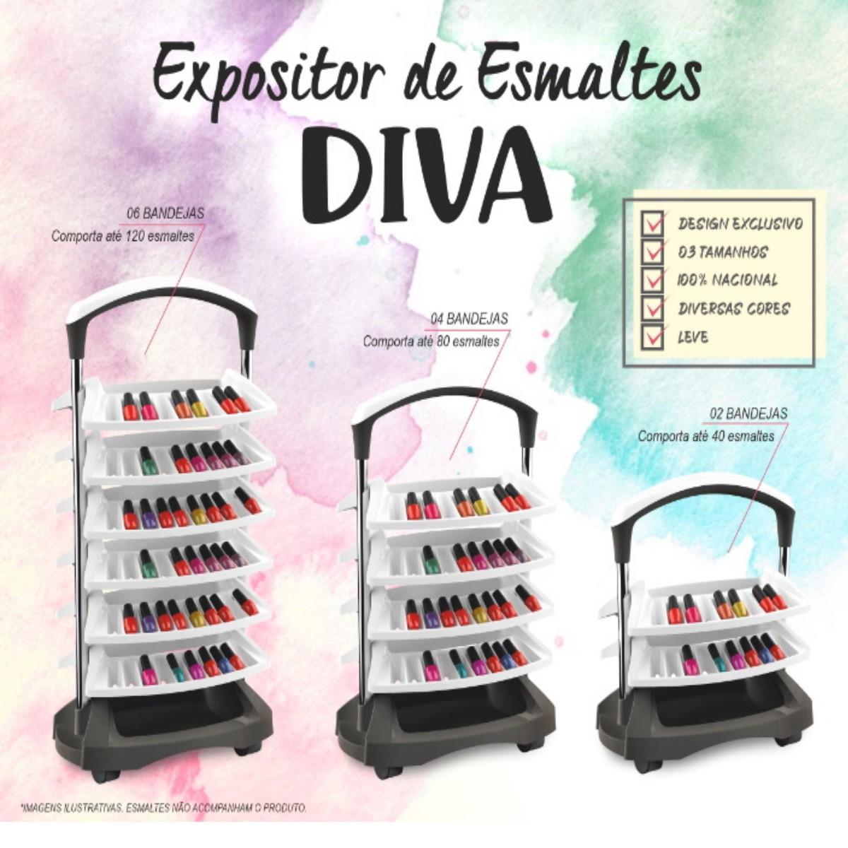 Carrinho Expositor de Esmaltes Diva 2 Bandejas (40 Esmaltes) Branco e Preto