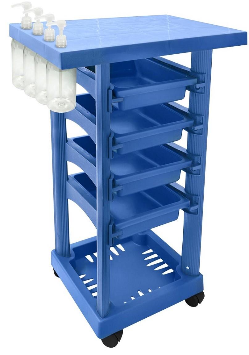 Carrinho Multiuso Azul com 4 Frascos 1L e Porta Shampoo/Creme - Santa Clara