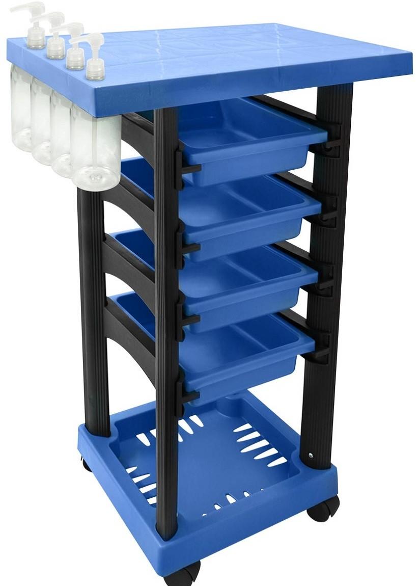 Carrinho Multiuso Azul/Preto com 4 Frascos 1L e Porta Shampoo/Creme - Santa Clara