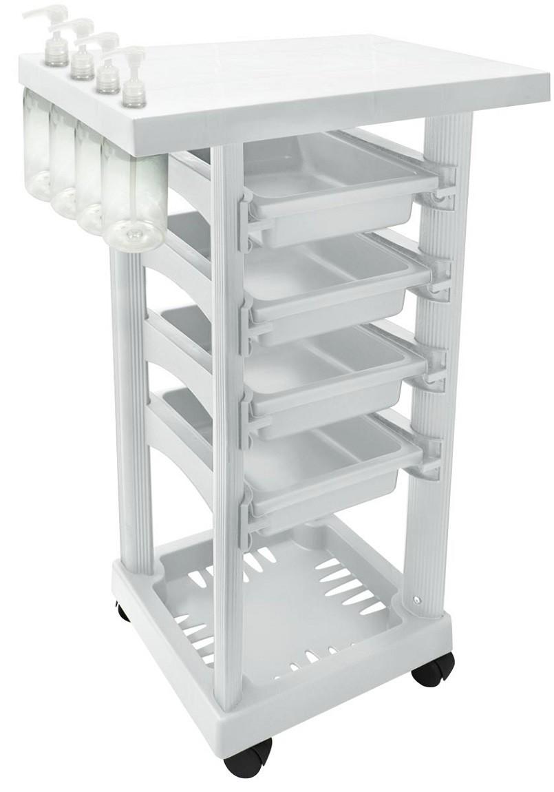 Carrinho Multiuso Branco com 4 Frascos 1L e Porta Shampoo/Creme - Santa Clara