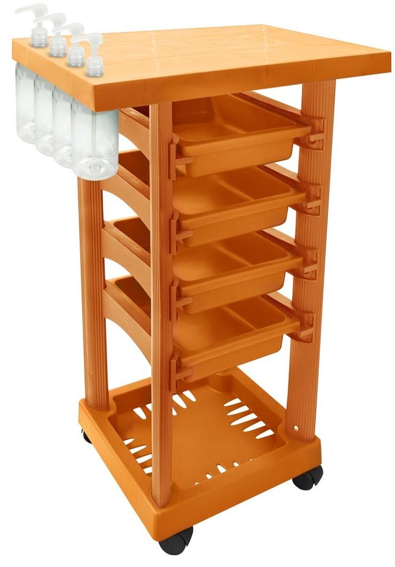 Carrinho Multiuso Laranja com 4 Frascos 1L e Porta Shampoo/Creme - Santa Clara