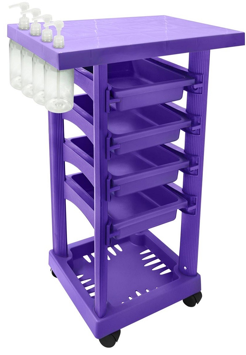 Carrinho Multiuso Lilás com 4 Frascos 1L e Porta Shampoo/Creme - Santa Clara