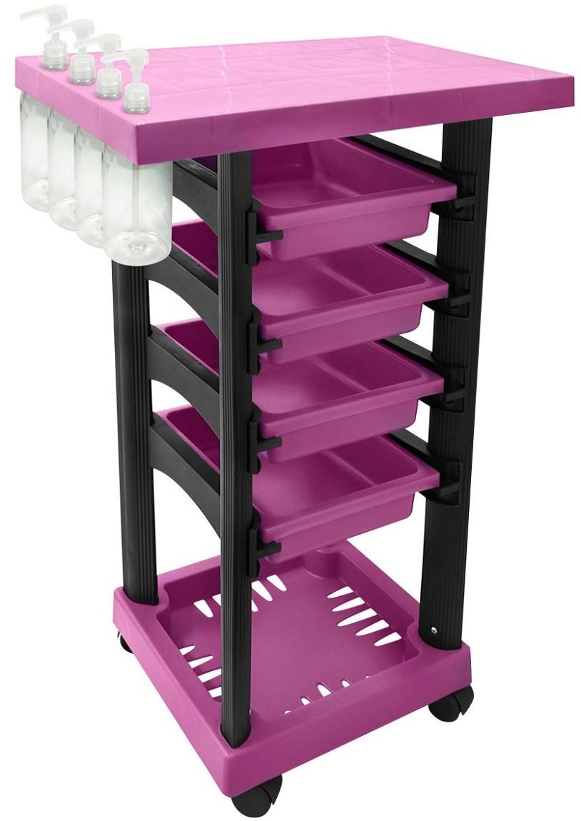 Carrinho Multiuso Pink/Preto com 4 Frascos 1L e Porta Shampoo/Creme - Santa Clara