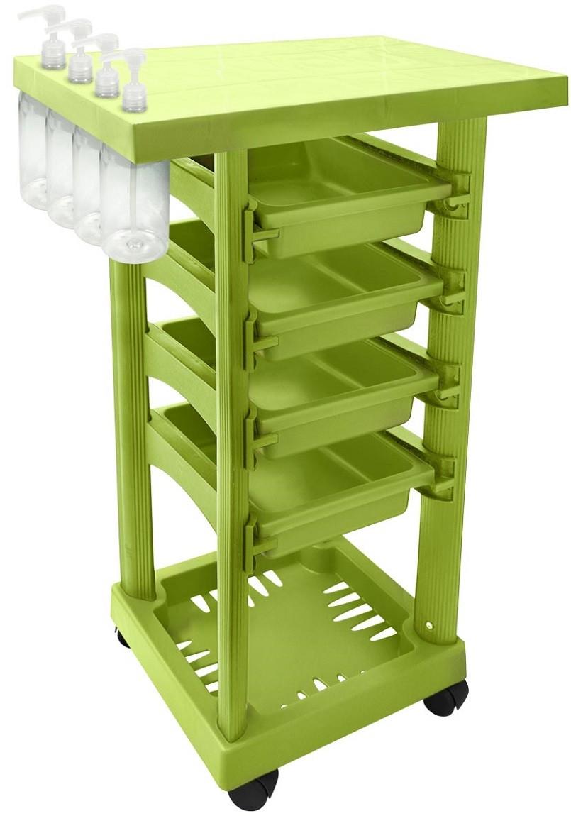 Carrinho Multiuso Verde Limão com 4 Frascos 1L e Porta Shampoo/Creme - Santa Clara