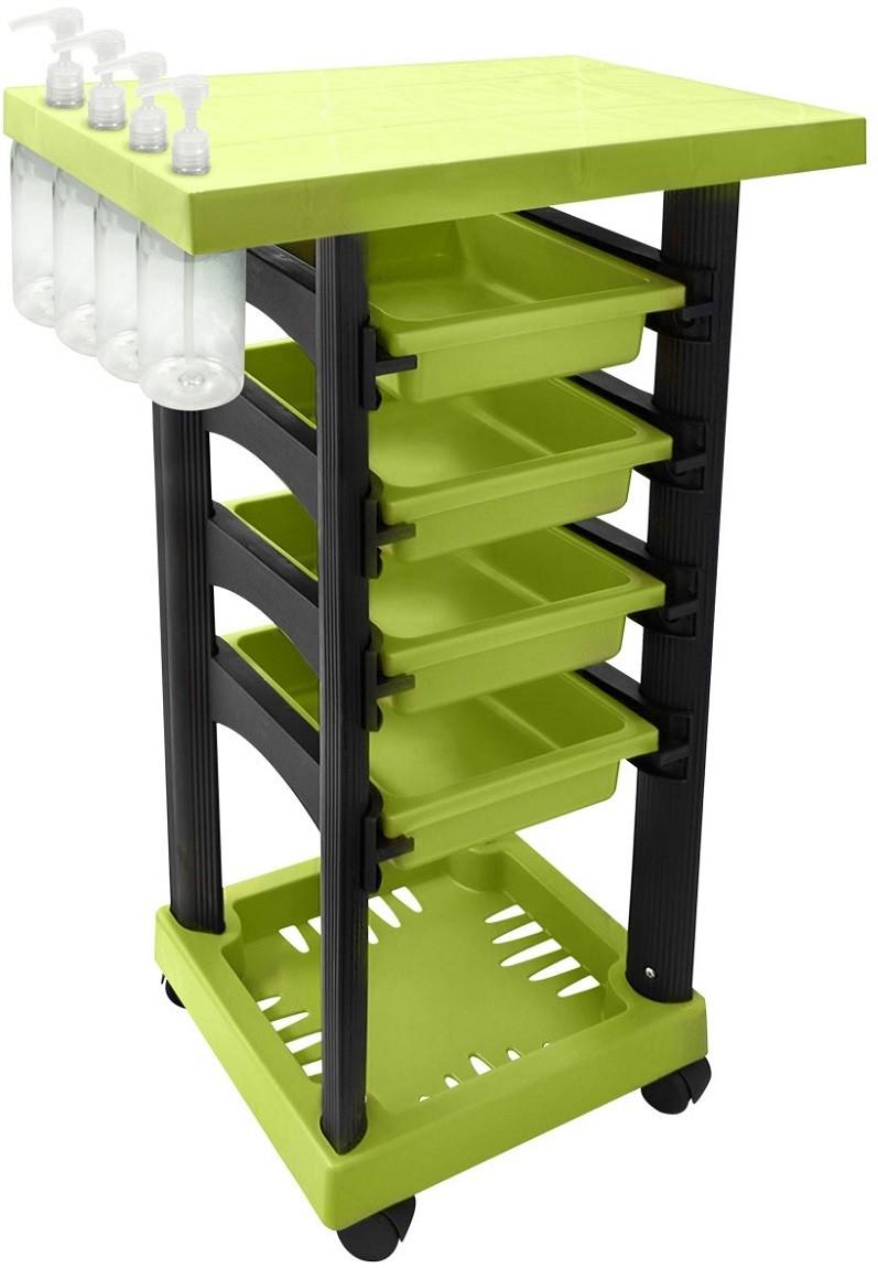Carrinho Multiuso Verde/Preto Limão com 4 Frascos 1L e Porta Shampoo/Creme - Santa Clara