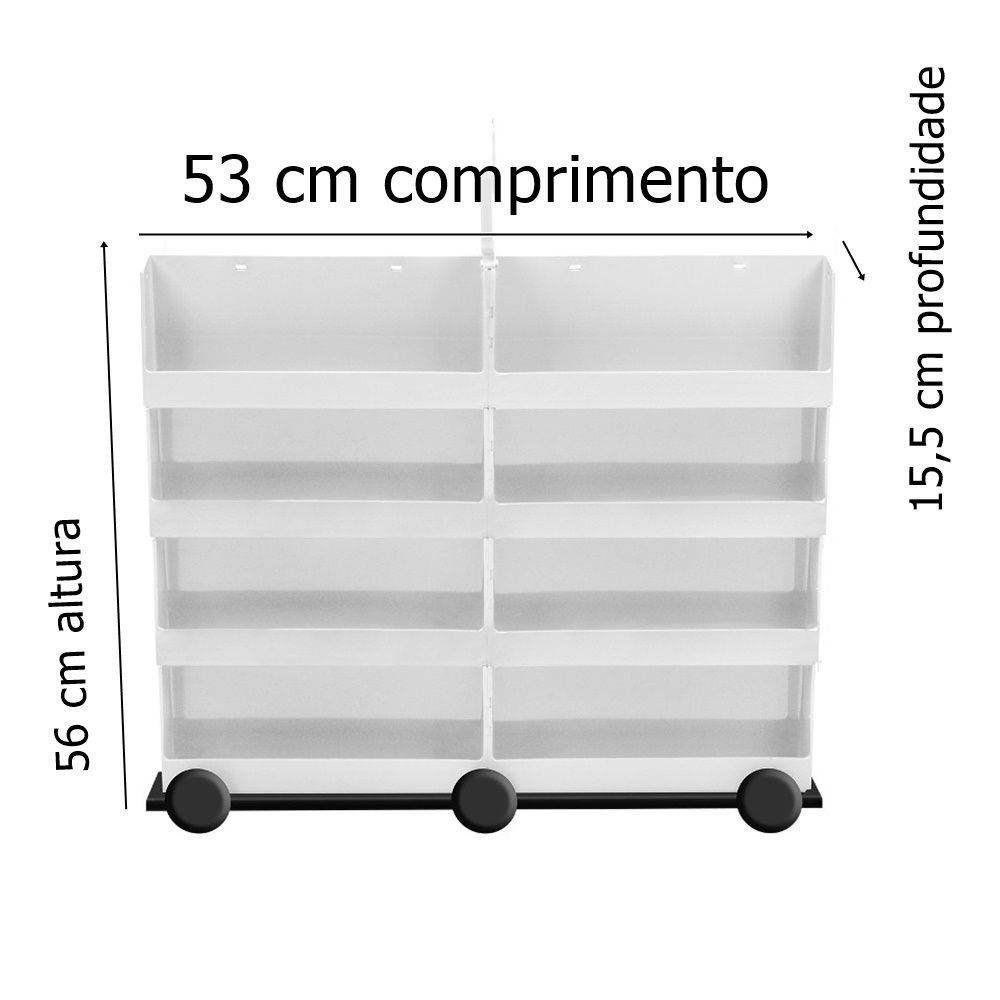 Carrinho Plástico Médio Expositor Para 160 Esmaltes - Santa Clara