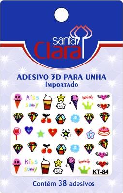Cartela De Adesivos  KT-84 Para Unha 3D  - Santa Clara