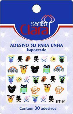 Cartela De Adesivos  KT-94 Para Unha 3D  - Santa Clara