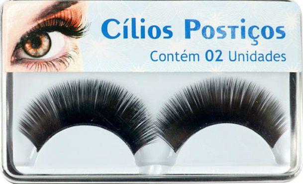Cílios Postiços SKE055-3 Com Pelo Sintético autocolantes - 02 Unidades