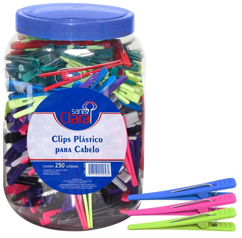 Clips Plástico Para Cabelo Pote Com 250 Unidades - Santa Clara