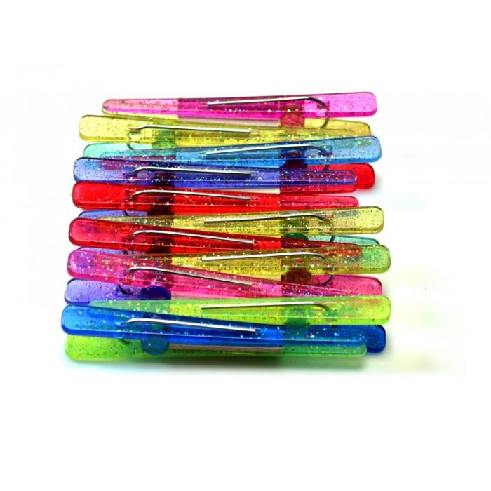 Clips Plásticos Coloridos com Glitter 12 unidades