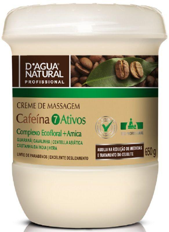 Creme De Massagem Cafeína 7 Ativos 650gr - D'agua Natural