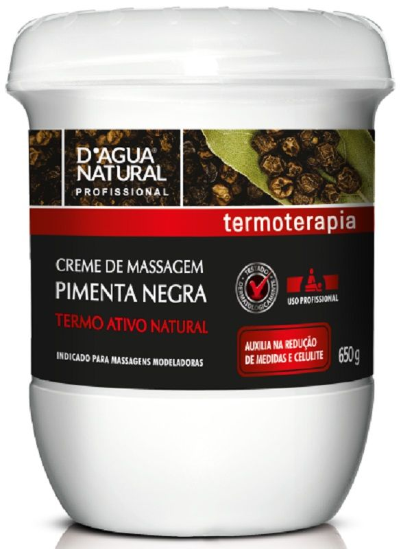 Creme De Massagem Pimenta Negra 650gr - D'agua Natural