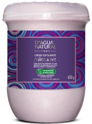 Creme Esfoliante Mãos e Pés Com Óleo de Semente de Uva 650g- Dágua Natural