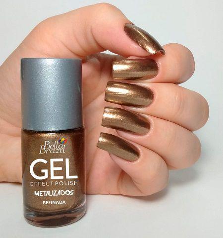 Esmalte Bella Brazil Metalizado Efeito Gel - Refinada 9ml