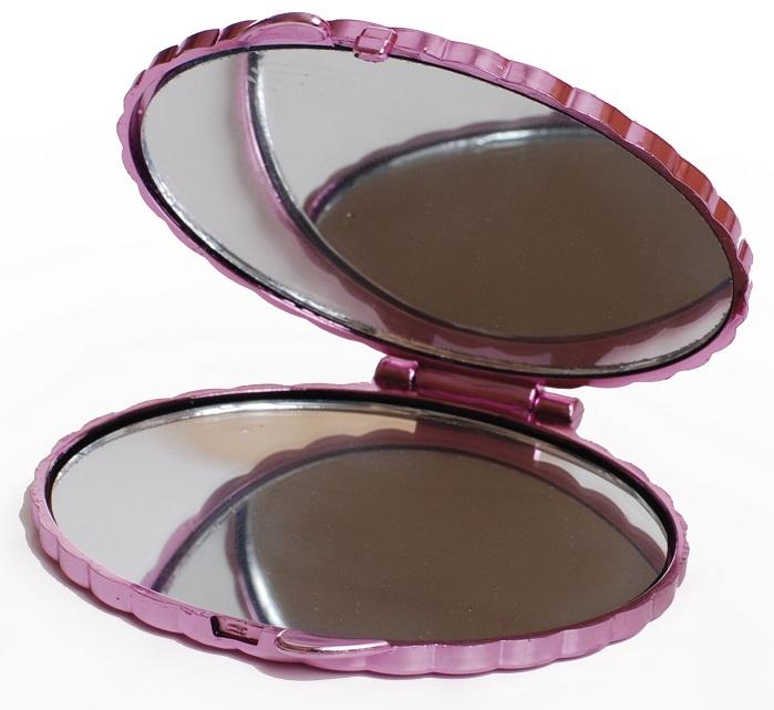 Espelho Duplo Para Bolsa Oval Com Pedras 01 Unidade - Importado