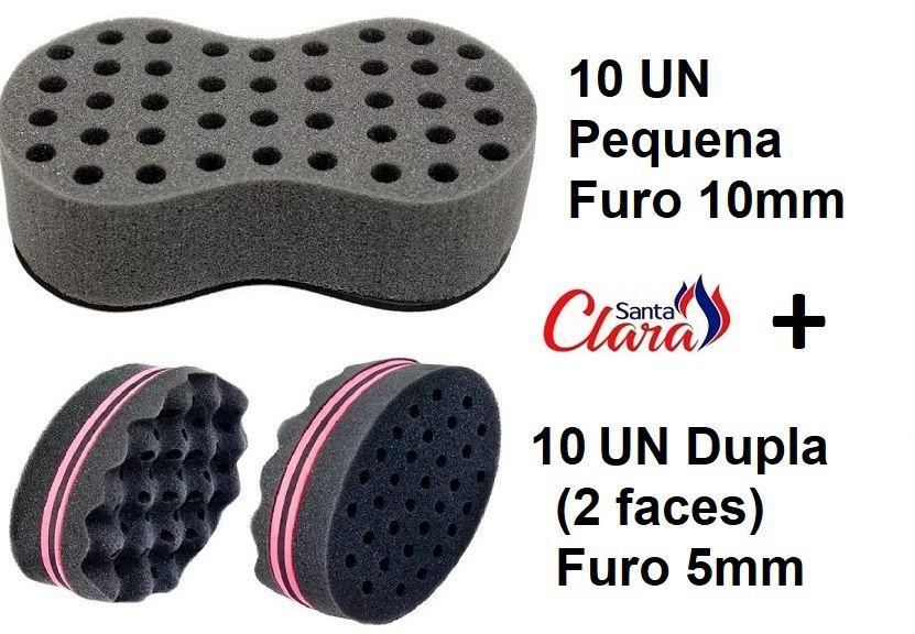 Esponja Twist 10 Pequena + 10 Dupla Afro Nudred Cabelo - Santa Clara