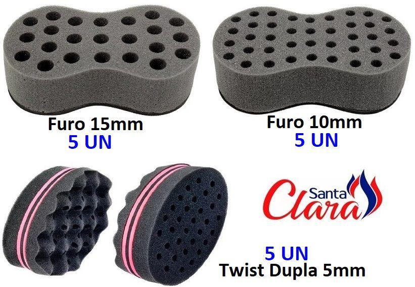 Esponja Twist (5 Pequena + 5 Média + 5 Dupla) Afro P/ Cabelo - Santa Clara