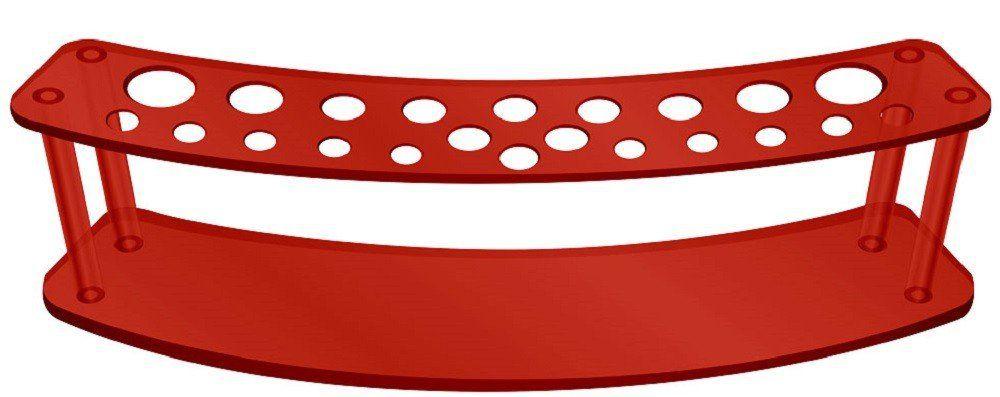 Expositor Acrílico 5mm Vermelho com 22 Cavidades Para Pincéis - Santa Clara