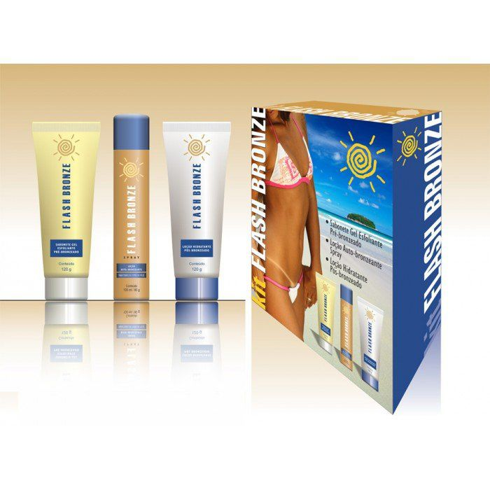 Flash Bronze Kit Sabonete Gel Esfoliante + Spray Auto Bronzeante + Loção Hidratante