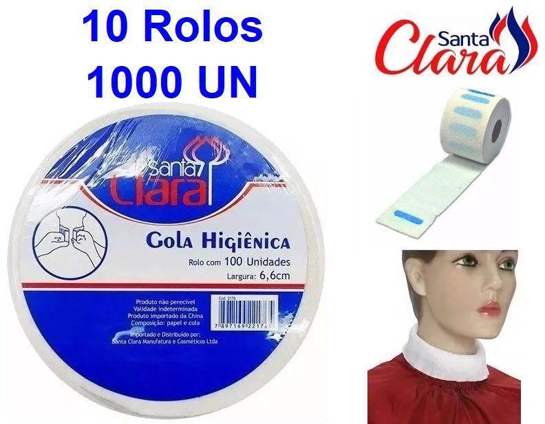 Gola Higiênica - Pacote com 10 Rolos - Total 1000 Golas - Santa Clara