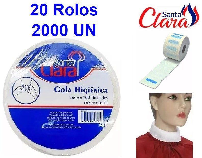 Gola Higiênica - Pacote com 20 Rolos - Total 2000 Golas - Santa Clara