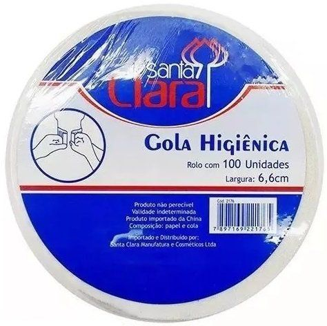 Gola Higiênica - Pacote com 25 Rolos - Total 2500 Golas - Santa Clara