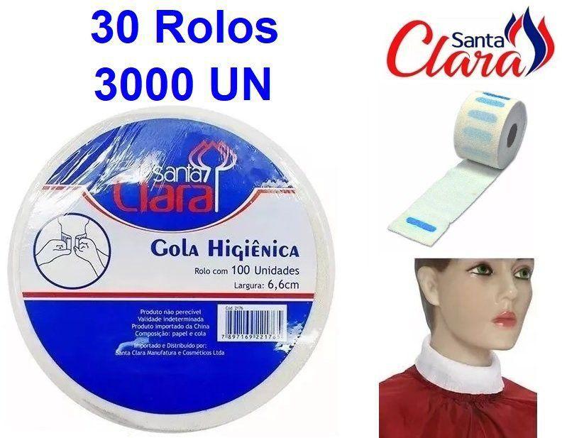 Gola Higiênica - Pacote com 30 Rolos - Total 3000 Golas - Santa Clara