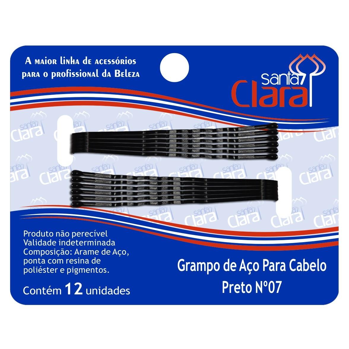 Grampo De Aço Para Cabelo Preto N° 07 - 12 Unidades